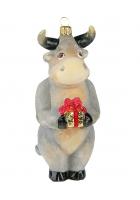 Елочная игрушка «Бык с подарком»