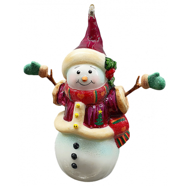 Стеклянная игрушка на елку «Снеговичка в рукавичках»