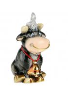 Елочная игрушка «Бычок с колокольчиком»