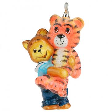 Забавная елочная игрушка из стекла «Медвежонок с тигром», фирменная упаковка