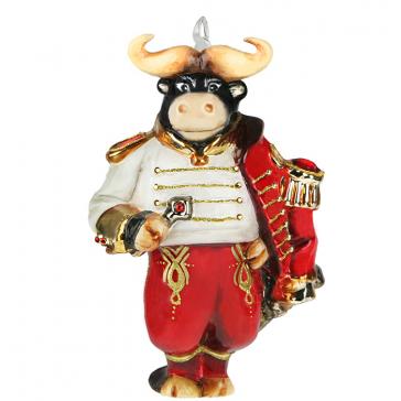 Елочная игрушка «Дон Торро» в деревянном ларце, символ 2021 года