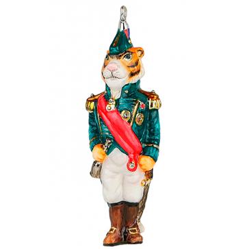 Стеклянная ёлочная игрушка «Тигр Адмирал» в подарочном деревянном ларце