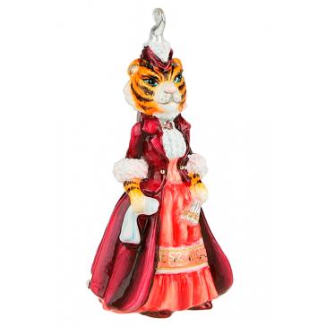 Стеклянная ёлочная игрушка «Леди Тигрица» в подарочном деревянном ларце, ручная работа
