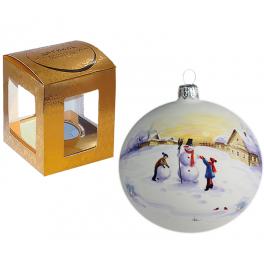 Ёлочный шар из стекла «Снеговик», диаметр 10 см