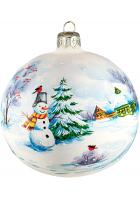 Ёлочный шар «Снеговик у ёлки»