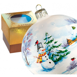Ёлочный шар из стекла «Снеговик у ёлки», диаметр 10 см