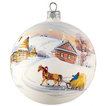 Ёлочный шар из стекла «Морозное утро», диаметр 10 см