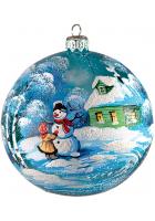 Ёлочный шар «Девочка со снеговиком»
