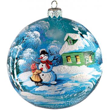 Стеклянный ёлочный шар «Девочка со снеговиком», производство Россия
