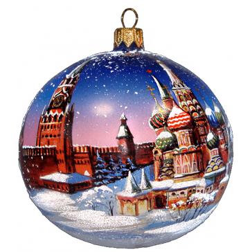 Ёлочный шар из стекла «Москва. Собор Василия Блаженного», диаметр 10 см