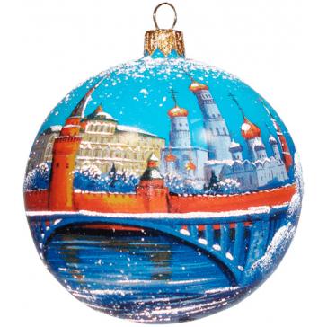 Ёлочный шар из стекла «Московский Кремль», диаметр 10 см