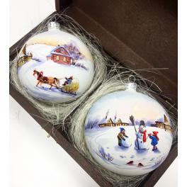 Набор стеклянных ёлочных шариков «Зимняя акварель» в деревянном ларце.