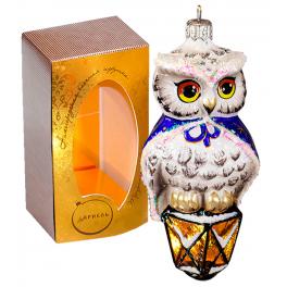 Стеклянная ёлочная игрушка «Филин на фонаре», производство Россия