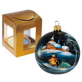 Ёлочный шар из стекла «Мальчик с ёлочкой», диаметр 9 см