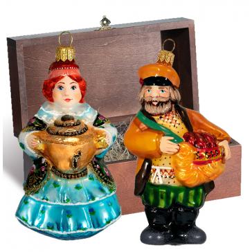 Стеклянные ёлочные игрушки в наборе «Купеческий», деревянный ларец.