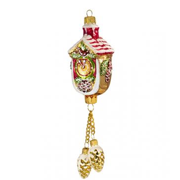 Стеклянная ёлочная игрушка «Часы с шишками», высота 19 см
