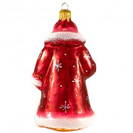 Стеклянная ёлочная игрушка «Дед Мороз в красной шубе», высота 13 см