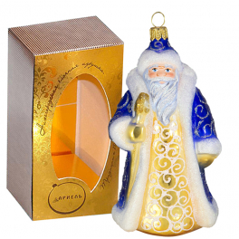 Стеклянная ёлочная игрушка «Дед Мороз», высота 13 см