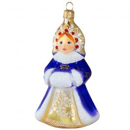 Стеклянные ёлочные игрушки в наборе «Зимний», деревянный ларец.
