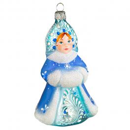 Стеклянная ёлочная игрушка «Снегурочка», ручная роспись
