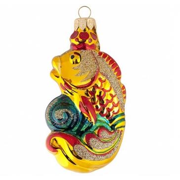 Стеклянная ёлочная игрушка «Золотая рыбка», производство Россия