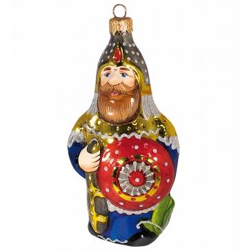 Стеклянная ёлочная игрушка «Витязь», высота 14 см