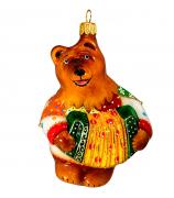 Ёлочная игрушка «Медведь с гармошкой»