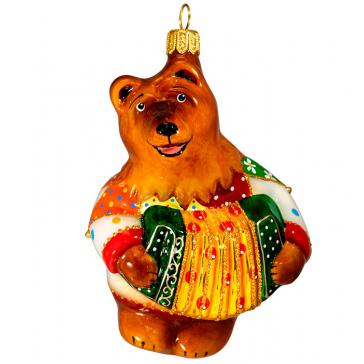 Коллекционная ёлочная игрушка ручной работы «Медведь с гармошкой»
