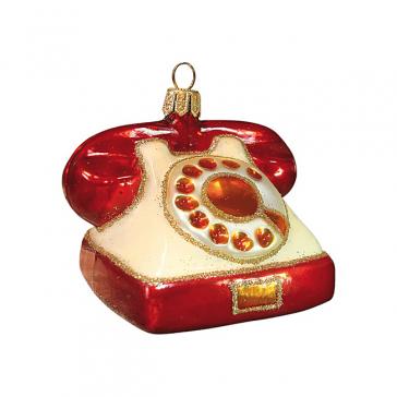 Стеклянная ёлочная игрушка «Телефон», высота 7 см