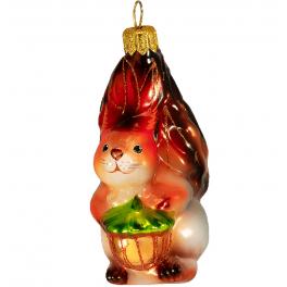 Стеклянная ёлочная игрушка «Белка с орехом», высота 10 см