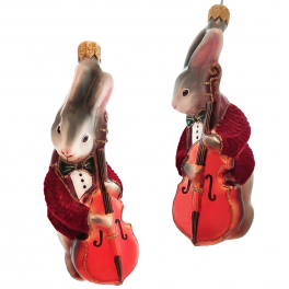 Стеклянная ёлочная игрушка «Кролик Джаз», высота 13 см