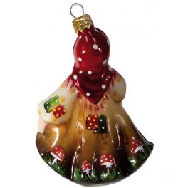 Стеклянная ёлочная игрушка «Баба-Яга», высота 12 см