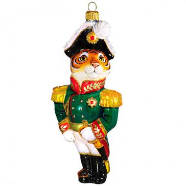 Стеклянная ёлочная игрушка в виде символа 2022 года «Тигр Генерал»