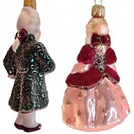 Стеклянные ёлочные игрушки в наборе «Дворцовый», деревянный ларец.
