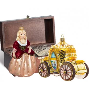 Стеклянные ёлочные игрушки в наборе «На бал», деревянный ларец.