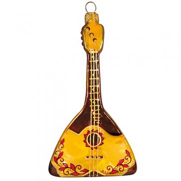 Стеклянная ёлочная игрушка «Балалайка», высота 13 см