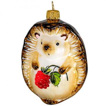 Стеклянная ёлочная игрушка «Ёжик с малиной», сделано в России