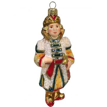 Стеклянная ёлочная игрушка «Царевич в белом кафтане», высота 12 см