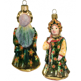 Стеклянная ёлочная игрушка «Царевна в изумрудном сарафане», высота 12 см