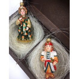 Стеклянные ёлочные игрушки в наборе «Сказочное царство», деревянный ларец.