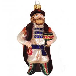 Стеклянная ёлочная игрушка «Князь-батюшка», высота 12 см