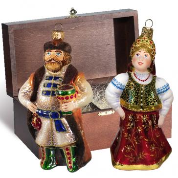 Стеклянные ёлочные игрушки в наборе «Княжеский», деревянный ларец.