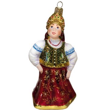 Стеклянная ёлочная игрушка «Марья-царевна», высота 13 см