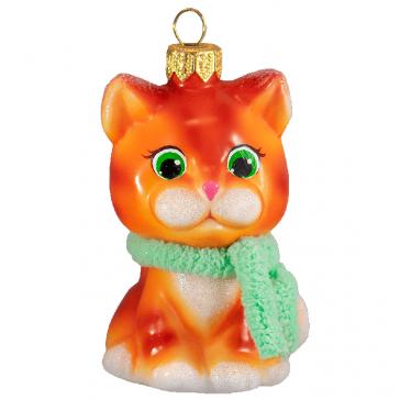 Стеклянная ёлочная игрушка «Рыжий котик», высота 10 см