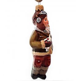 Стеклянные ёлочные игрушки в наборе «Саша и Маша», деревянный ларец.