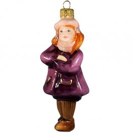 Стеклянная ёлочная игрушка «Девочка в берете», высота 12 см