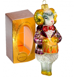 Стеклянная ёлочная игрушка «Баран с барабаном», тонкая ручная работа