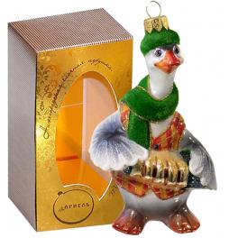Стеклянная ёлочная игрушка «Гусь гармонист», высота 13 см