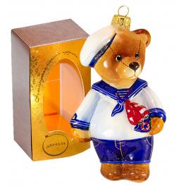 Коллекционная ёлочная игрушка «Мишка с корабликом», 13 см.