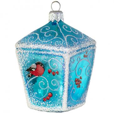 Стеклянная ёлочная игрушка «Фонарь со снегирями», высота 9 см